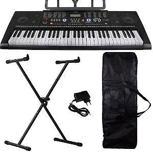 Kit Teclado Musical Profissional KeyPower Kp300 usb suporte