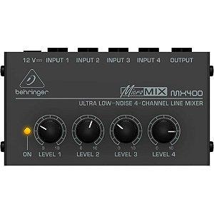 Mixer Compacto Behringer Micromix Mx400 Low Noise 4 Canais