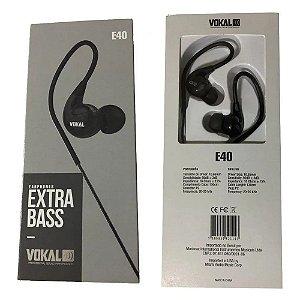 Fone De Ouvido Vokal E40 In Ear Monitor Profissional Preto