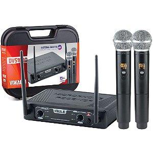 Microfone Sem Fio Vokal Dvs100dm Duplo De Mão profissional