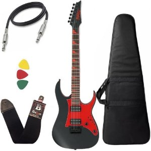 Kit Guitarra Ibanez Grg 131dx Preta escudo vermelho + capa