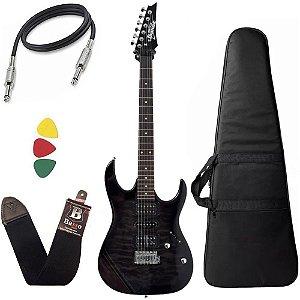 Kit Guitarra Ibanez Grx 70qa Preta com capa bag correia