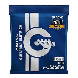 Encordoamento Guitarra Groove Solez 010 2 extras mi si sol
