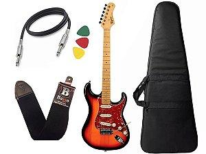kit Guitarra Tagima TG 530 Woodstock Sunburst Capa Cabo