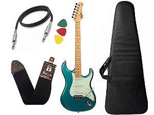 kit Guitarra Tagima TG 530 Woodstock Azul Capa Cabo