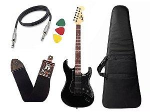 Guitarra Tagima Memphis Mg32 preto capa correia cabo