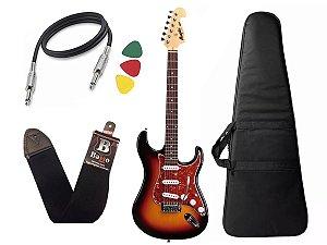 Guitarra  Tagima Memphis Mg32 Sunburst Capa cabo correia
