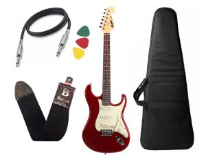 Kit Guitarra Tagima Memphis Mg32 Vermelho Metalico Capa