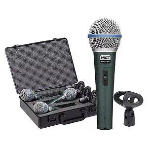 3 Microfones Mxt Dinâmico Metal Pro Btm58a + Maleta Cachimbo
