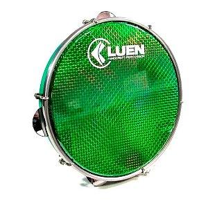 Pandeiro Luen 10 Polegadas Aro Abs Pele Holografica Verde
