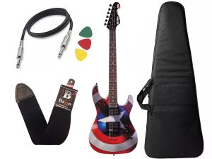 Guitarra Phx Marvel Capitão América Gmc1 Capa Cabo