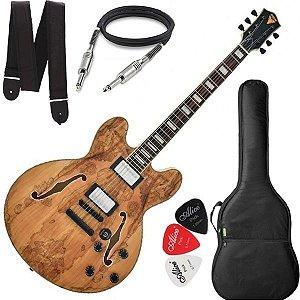 Guitarra PHX Semi Acústica AC1 Natural Capa, Cabo e Correia