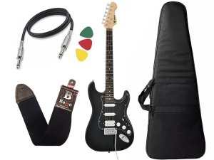 Kit Guitarra Phx Strato Power St H Sth Preto Bag