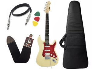 Kit Guitarra Phx Strato Power St H Sth Natural Creme Bag