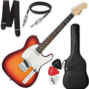 Guitarra PHX TELECASTER TL 1 TL1 Sunburst Capa Alça Cabo