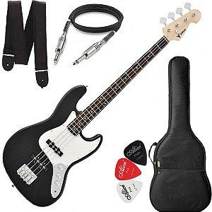 Baixo Phx Jb4 Jazz Bass 4 Cordas Preto com Capa Cabo e Alça