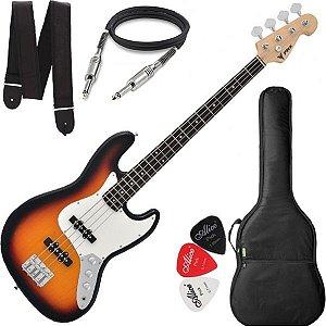 Baixo Phx Jb4 Jazz Bass 4 Cordas Sunburst com Capa Cabo e Alça