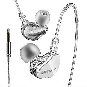 Fone Retorno de palco In-Ear Soundvoice In-01 Branco