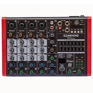 Mesa De Som Soundvoice Mc6plus Eux 6 canais efeito phantom