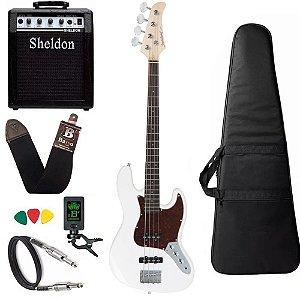 Kit Baixo Strinberg JBS40 Branco WH Jazz Bass Amplificador