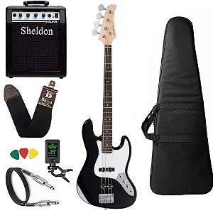 Kit Baixo Strinberg Jbs40  Jazz Bass Preto Amplificador