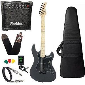 Kit Guitarra Strinberg Sts100 Preta Fosca Bks Amplificador