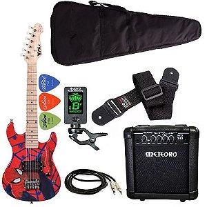 Kit Guitarra infantil Phx homen aranha spider cubo meteoro