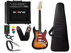 Kit Guitarra Strato Phx Sth Sunburst cubo amplificador borne