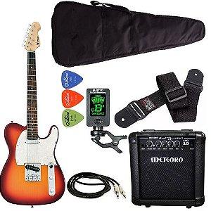 Kit Guitarra Phx Telecaster Tl1 sunburst Meteoro Afinador