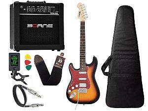 Kit Guitarra Canhoto Phx Sth Sunburst Cubo Borne Afinador