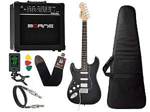 Kit Guitarra Canhoto Phx Sth lh preto Cubo Borne Afinador