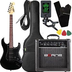 kit guitarra tagima mg32 preto cubo Borne afinador capa