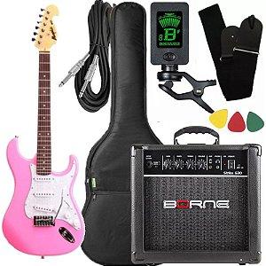 kit guitarra tagima mg32 rosa pink cubo Borne afinador capa