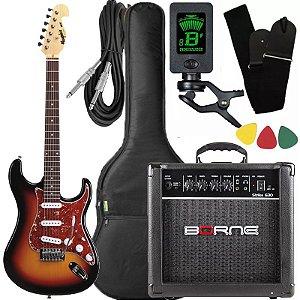 kit guitarra tagima mg32 sunburst cubo Borne afinador capa