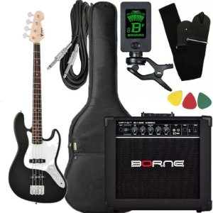 Kit Baixo Phx Jb Jazz Bass Preto caixa amplificador borne