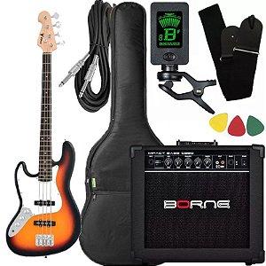 Kit Baixo canhoto Phx Jb4 JazzBass sunburst amplificador borne