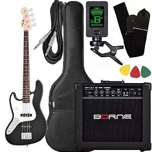 Kit Baixo canhoto Phx Jb4 Jazz Bass preto amplificador borne