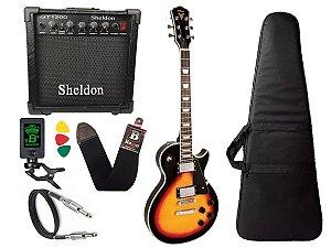 Kit Guitarra Les Paul Phx Lp5 sunburst Cubo Sheldon