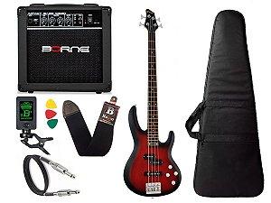 Kit Baixo Ativo Phx Bs4 S Vermelho caixa amplificador Borne