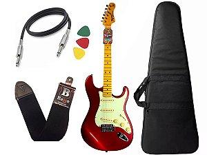 kit Guitarra Tagima TG 530 Woodstock Vermelho Capa Cabo