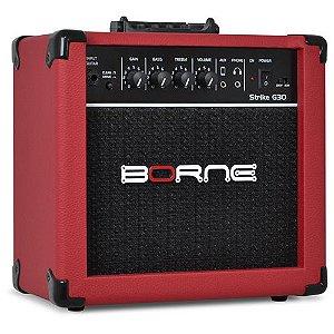 Amplificador Cubo Guitarra Borne G30 vermelho C/ Distorção