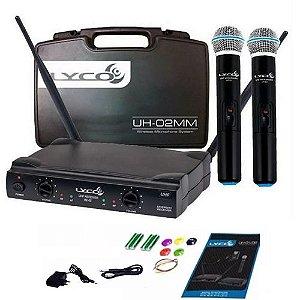 2 Microfones Sem Fio Duplo Mão Lyco Uhf Uh02mm Profissional