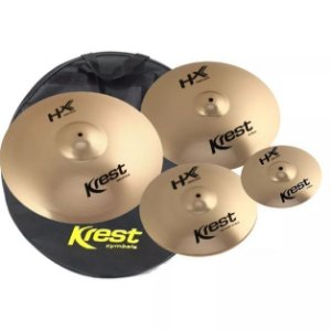 Kit set Pratos de bateria Krest hx 14 16 20 Splash 10 e bag  hxset1sp