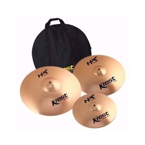 Set Kit Pratos Bateria Krest Hx Set3 14 16 20 + Bag