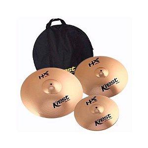 Set Kit Pratos Bateria Krest Hx Set3 14 16 20 + Bag