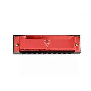 Gaita 10 Vozes harmonica vermelho Afinação Do C Phx Le1020
