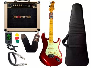 Kit Guitarra Tagima Tg530 Vermelha Cubo Borne Vorax 1050 w