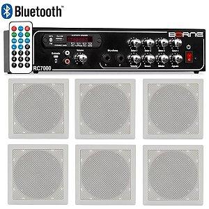 Kit Som Ambiente Borne Rc7000 Usb Fm  6 Arandelas Quadradas