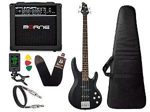 Kit Baixo Ativo Phx Bs4 S Preto caixa amplificador Borne