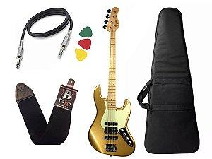 Kit Baixo Tagima Jmj 4 Dourado Jazz Bass capa cabo regulado
